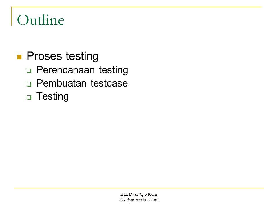 Eka Dyar W, S.Kom eka.dyar@yahoo.com Outline Proses testing  Perencanaan testing  Pembuatan testcase  Testing