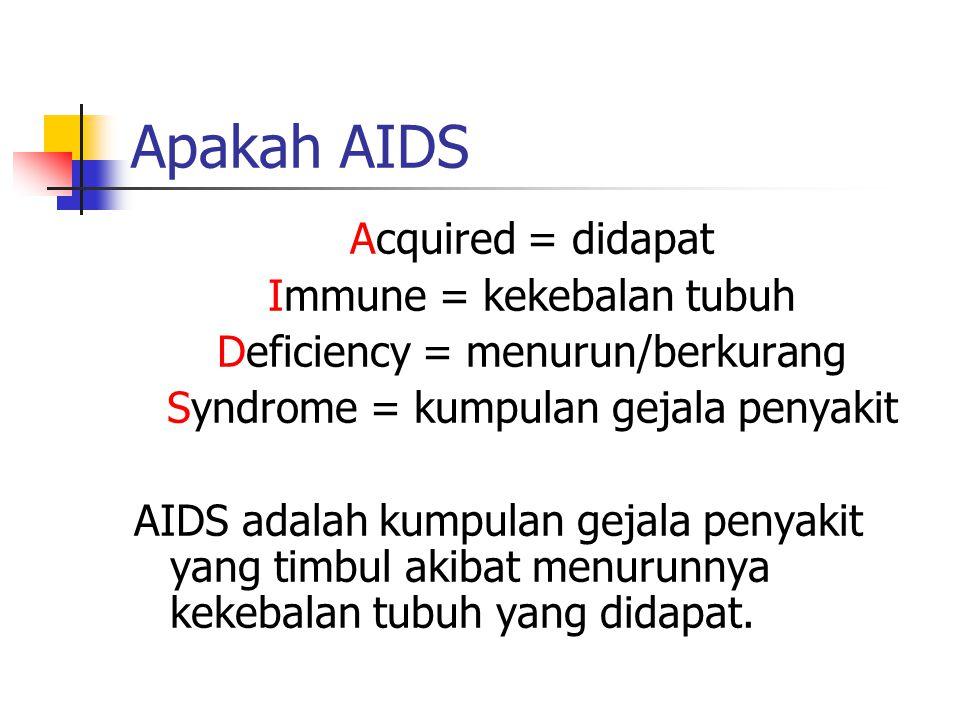Apakah AIDS Acquired = didapat Immune = kekebalan tubuh Deficiency = menurun/berkurang Syndrome = kumpulan gejala penyakit AIDS adalah kumpulan gejala penyakit yang timbul akibat menurunnya kekebalan tubuh yang didapat.