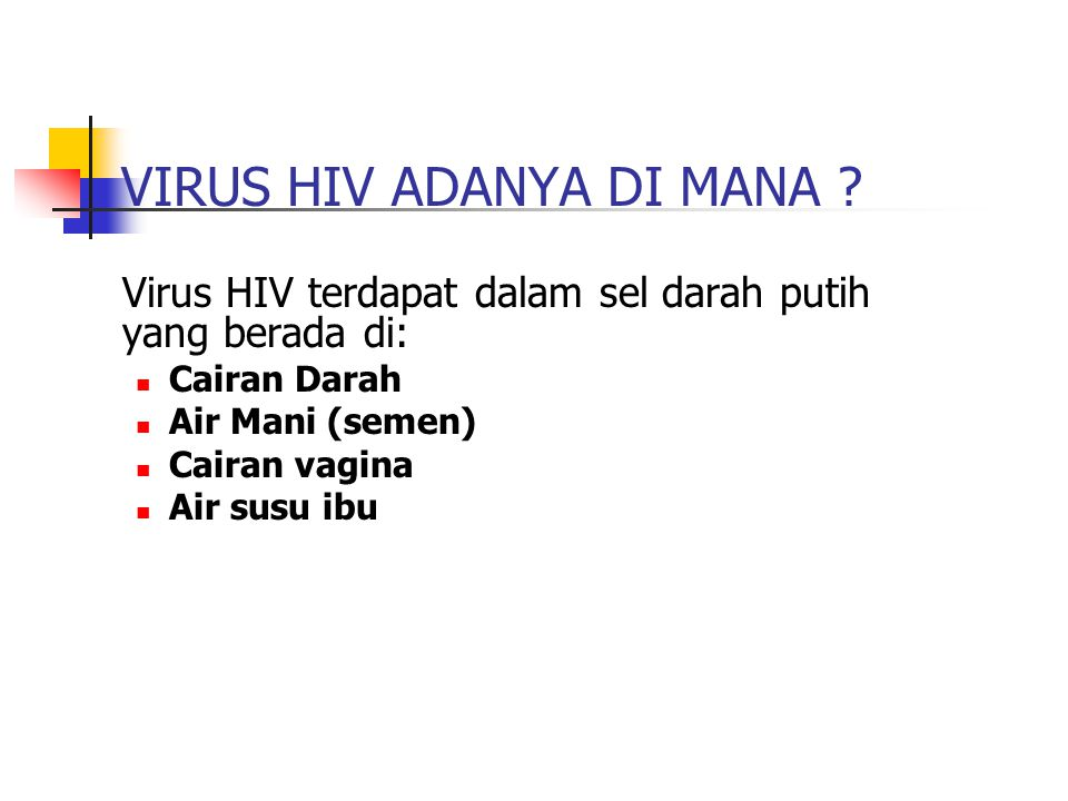 Data Kasus HIV&AIDS Terakhir (sumber Ditjen PPM & PL Depkes RI) FAKTOR RESIKO/RISKHIV +AIDSTOTAL Heteroseksual194722564203 Pengguna Narkoba Suntik (IDU) 116829204088 Homo/Biseksual134272406 Transmisi Prenatal3075105 Transfusi Darah066 Tak Diketahui dan Tidak Disebut 10542941348 Total4333582310156