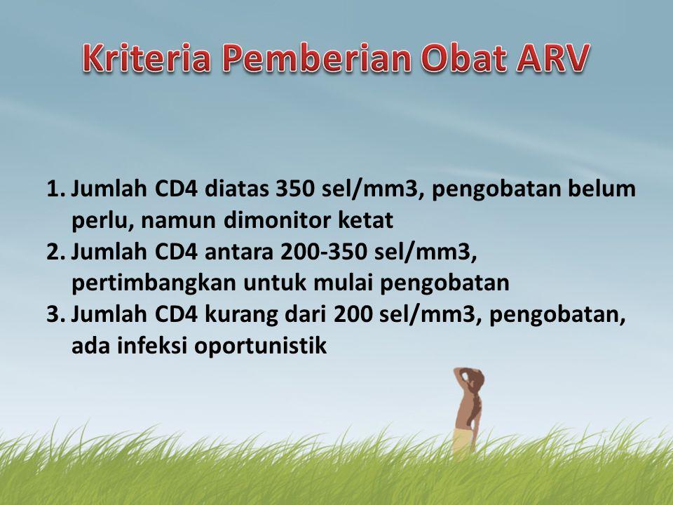 1.Jumlah CD4 diatas 350 sel/mm3, pengobatan belum perlu, namun dimonitor ketat 2.Jumlah CD4 antara 200-350 sel/mm3, pertimbangkan untuk mulai pengobat