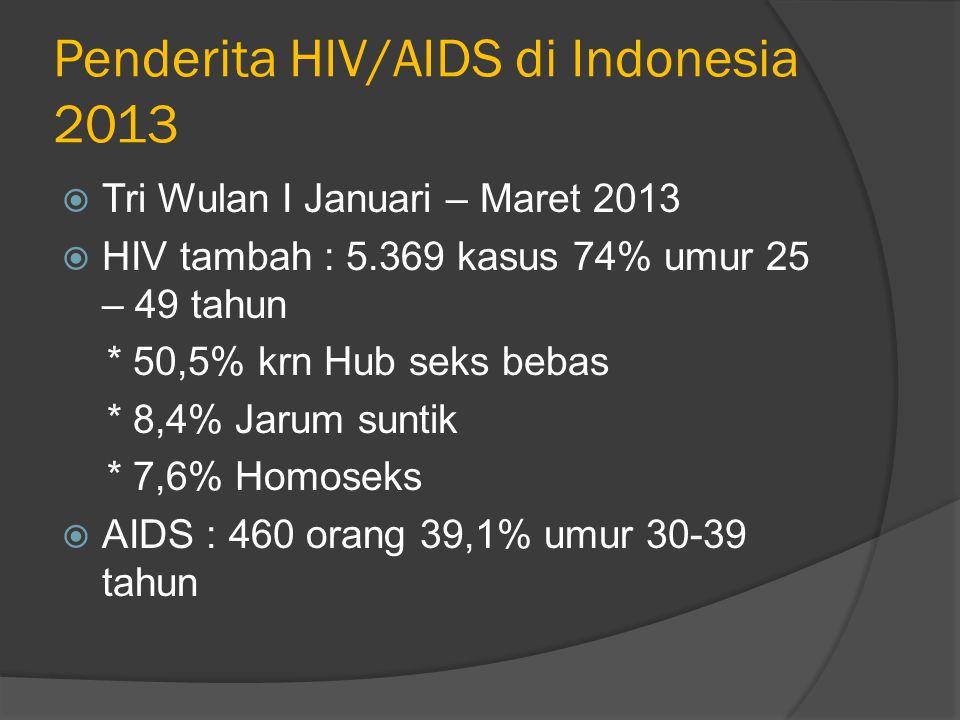 Penderita HIV/AIDS di Indonesia 2013  Tri Wulan I Januari – Maret 2013  HIV tambah : 5.369 kasus 74% umur 25 – 49 tahun * 50,5% krn Hub seks bebas * 8,4% Jarum suntik * 7,6% Homoseks  AIDS : 460 orang 39,1% umur 30-39 tahun