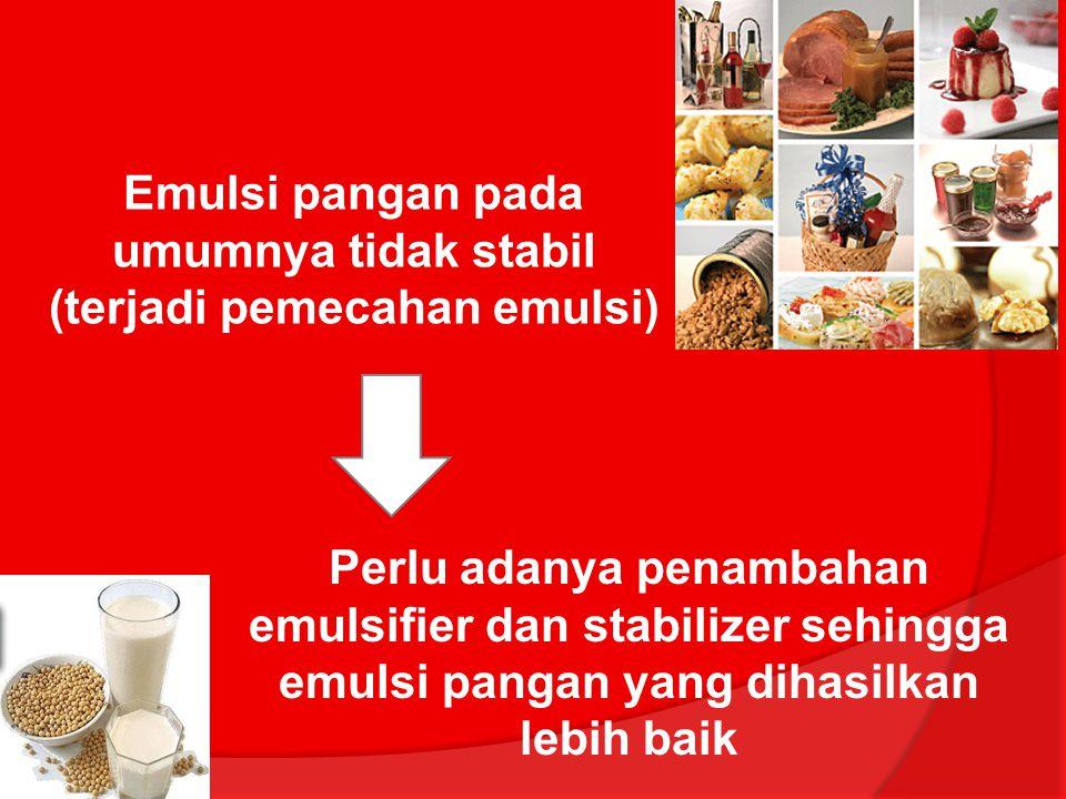 Emulsi pangan pada umumnya tidak stabil (terjadi pemecahan emulsi) Perlu adanya penambahan emulsifier dan stabilizer sehingga emulsi pangan yang dihas