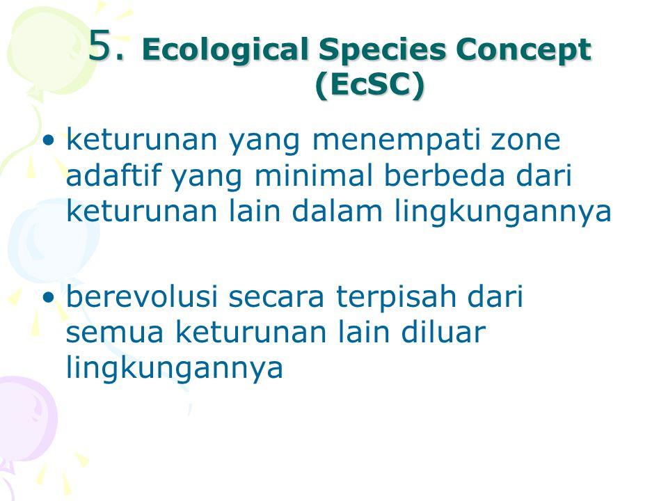 5. Ecological Species Concept (EcSC) keturunan yang menempati zone adaftif yang minimal berbeda dari keturunan lain dalam lingkungannya berevolusi sec