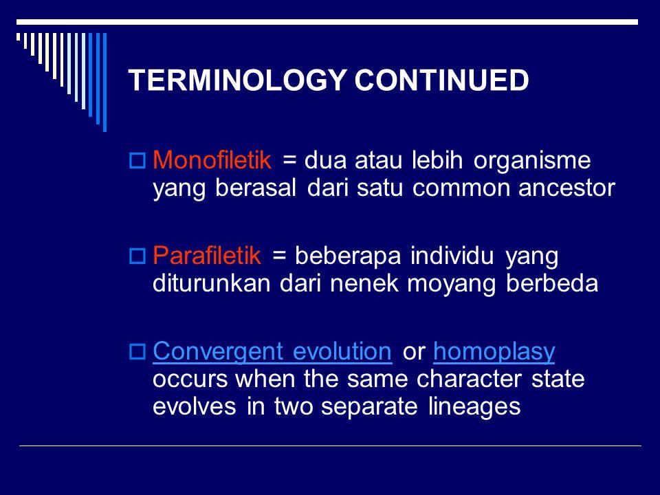 TERMINOLOGY CONTINUED  Monofiletik = dua atau lebih organisme yang berasal dari satu common ancestor  Parafiletik = beberapa individu yang diturunka