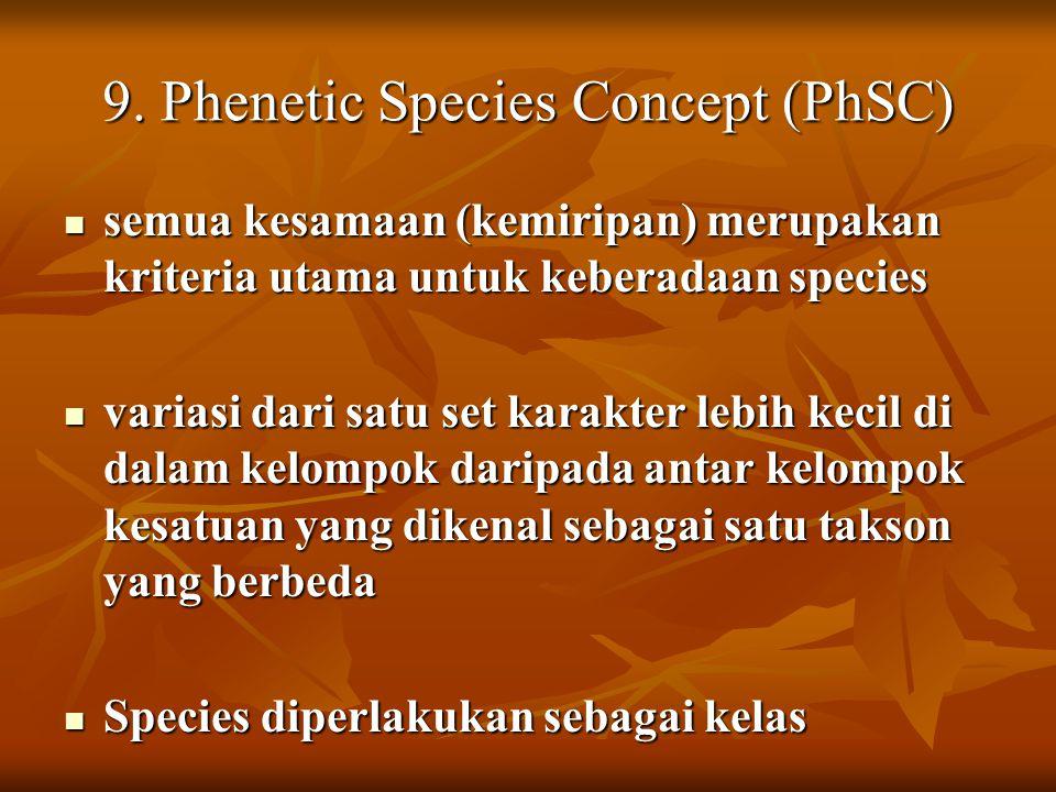9. Phenetic Species Concept (PhSC) semua kesamaan (kemiripan) merupakan kriteria utama untuk keberadaan species semua kesamaan (kemiripan) merupakan k