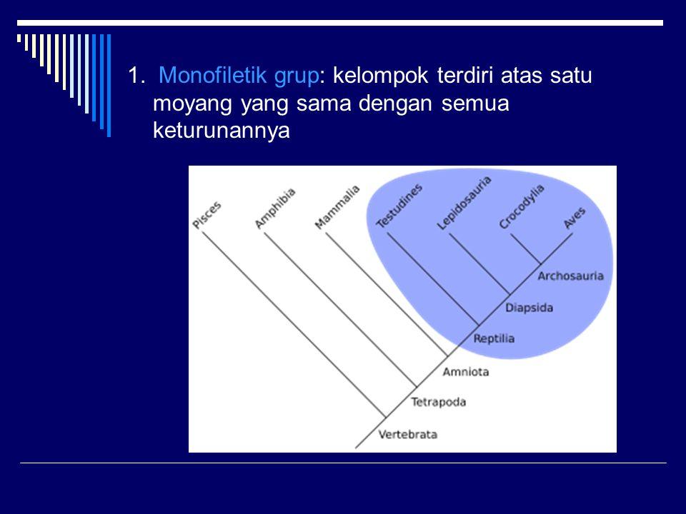 1. Monofiletik grup: kelompok terdiri atas satu moyang yang sama dengan semua keturunannya