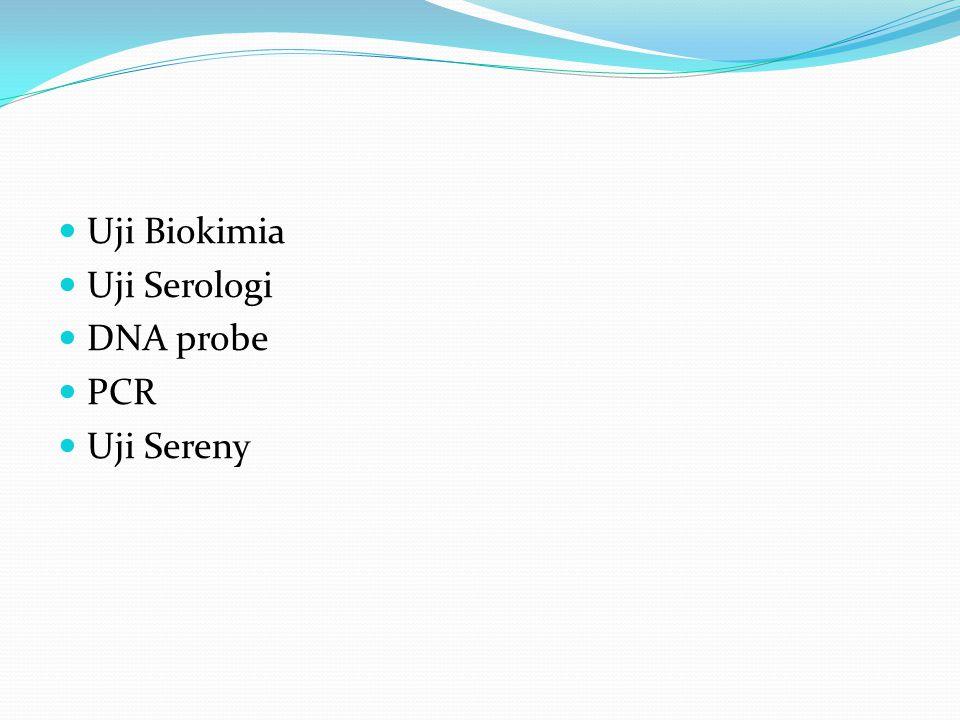 Uji Biokimia Uji Serologi DNA probe PCR Uji Sereny
