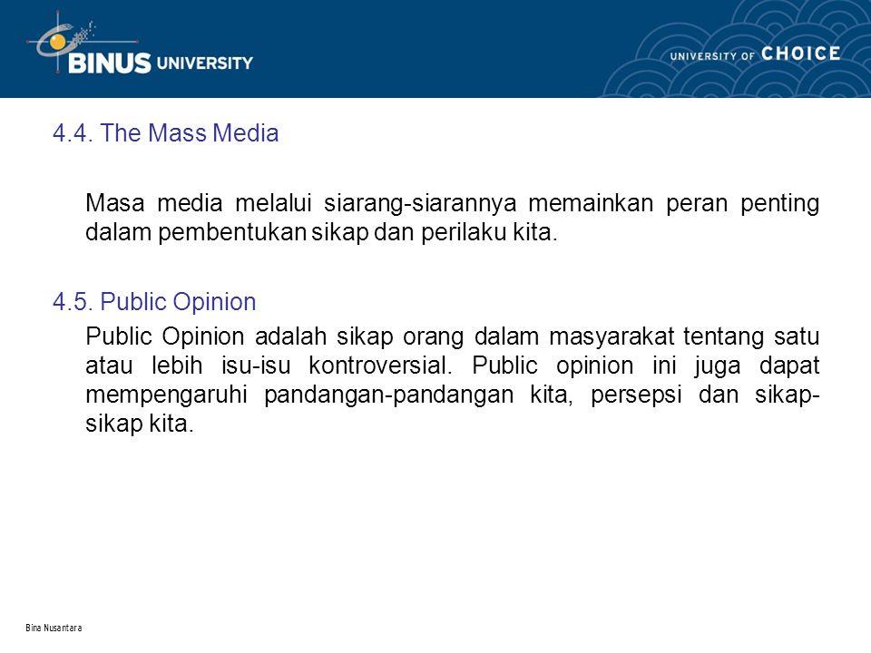 Bina Nusantara 4.4. The Mass Media Masa media melalui siarang-siarannya memainkan peran penting dalam pembentukan sikap dan perilaku kita. 4.5. Public