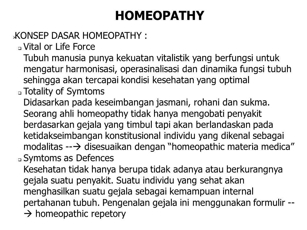 HOMEOPATHY  KONSEP DASAR HOMEOPATHY :  Vital or Life Force Tubuh manusia punya kekuatan vitalistik yang berfungsi untuk mengatur harmonisasi, operas