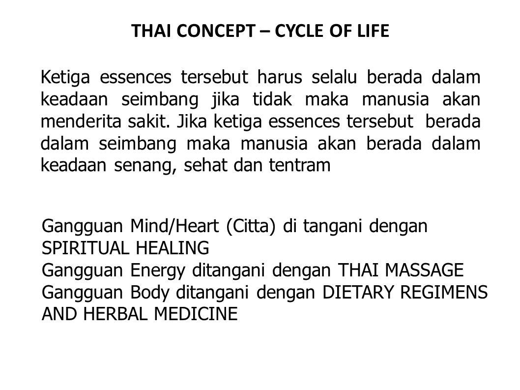 THAI CONCEPT – CYCLE OF LIFE Ketiga essences tersebut harus selalu berada dalam keadaan seimbang jika tidak maka manusia akan menderita sakit. Jika ke