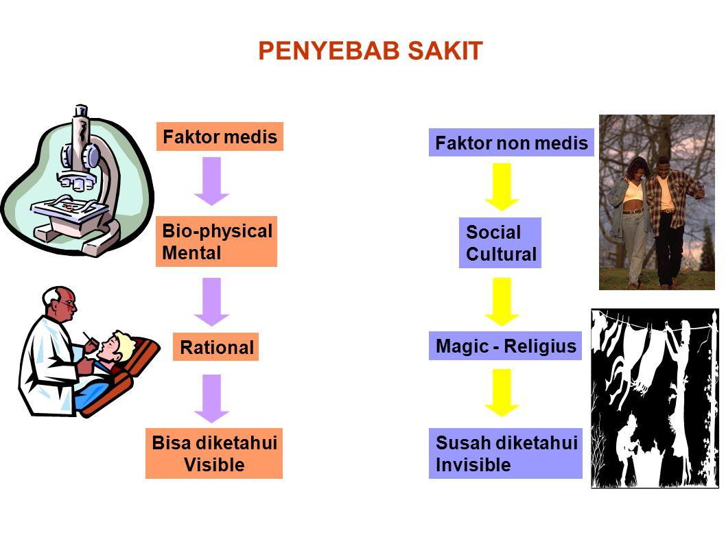 PENYEBAB SAKIT Faktor medis Bio-physical Mental Rational Bisa diketahui Visible Faktor non medis Social Cultural Magic - Religius Susah diketahui Invi