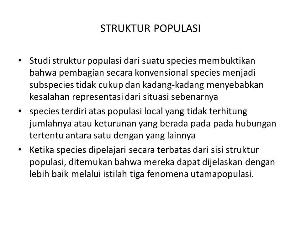 STRUKTUR POPULASI Studi struktur populasi dari suatu species membuktikan bahwa pembagian secara konvensional species menjadi subspecies tidak cukup da