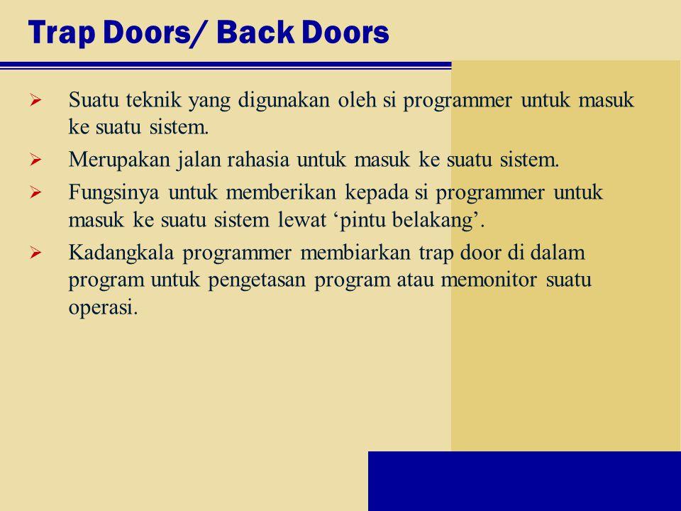 Trap Doors/ Back Doors  Suatu teknik yang digunakan oleh si programmer untuk masuk ke suatu sistem.  Merupakan jalan rahasia untuk masuk ke suatu si
