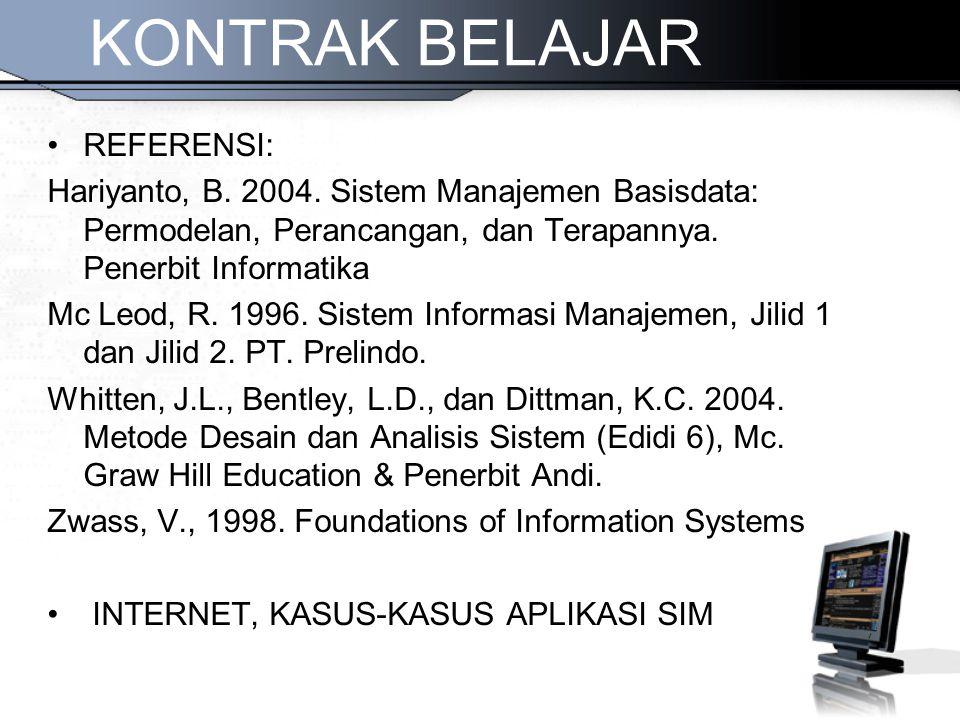 REFERENSI: Hariyanto, B. 2004. Sistem Manajemen Basisdata: Permodelan, Perancangan, dan Terapannya. Penerbit Informatika Mc Leod, R. 1996. Sistem Info