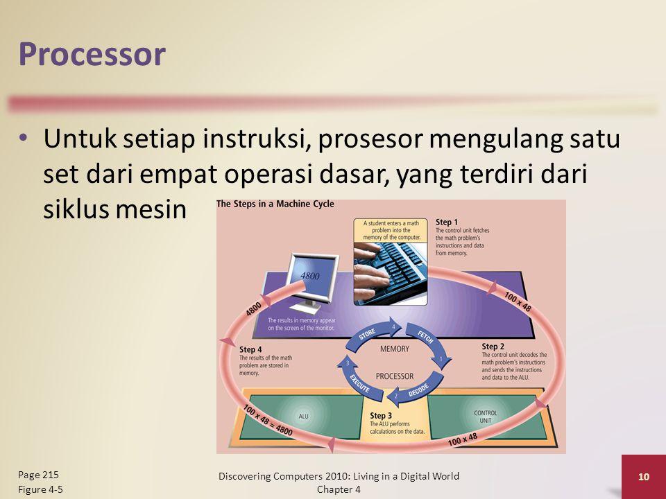 Processor Untuk setiap instruksi, prosesor mengulang satu set dari empat operasi dasar, yang terdiri dari siklus mesin Discovering Computers 2010: Liv