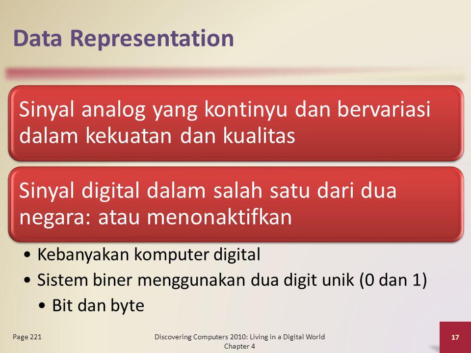 Data Representation Sinyal analog yang kontinyu dan bervariasi dalam kekuatan dan kualitas Sinyal digital dalam salah satu dari dua negara: atau menon