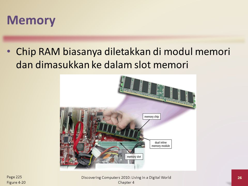 Memory Chip RAM biasanya diletakkan di modul memori dan dimasukkan ke dalam slot memori Discovering Computers 2010: Living in a Digital World Chapter 4 26 Page 225 Figure 4-20