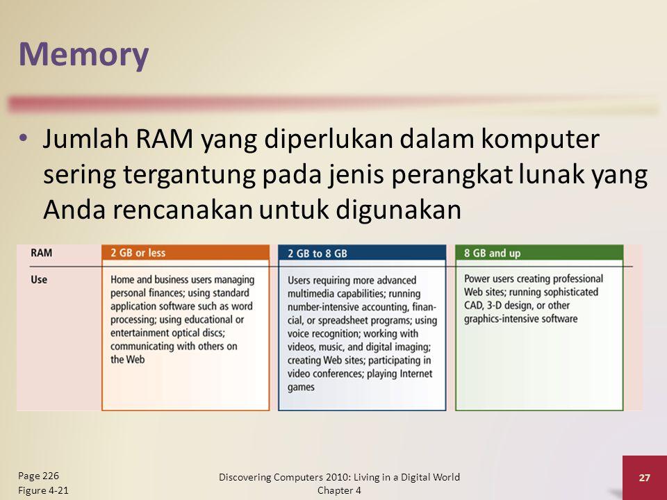 Memory Jumlah RAM yang diperlukan dalam komputer sering tergantung pada jenis perangkat lunak yang Anda rencanakan untuk digunakan Discovering Compute
