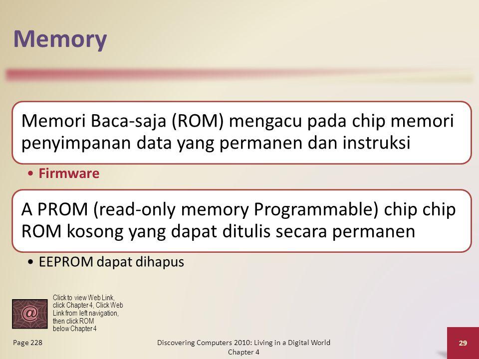 Memory Memori Baca-saja (ROM) mengacu pada chip memori penyimpanan data yang permanen dan instruksi Firmware A PROM (read-only memory Programmable) ch