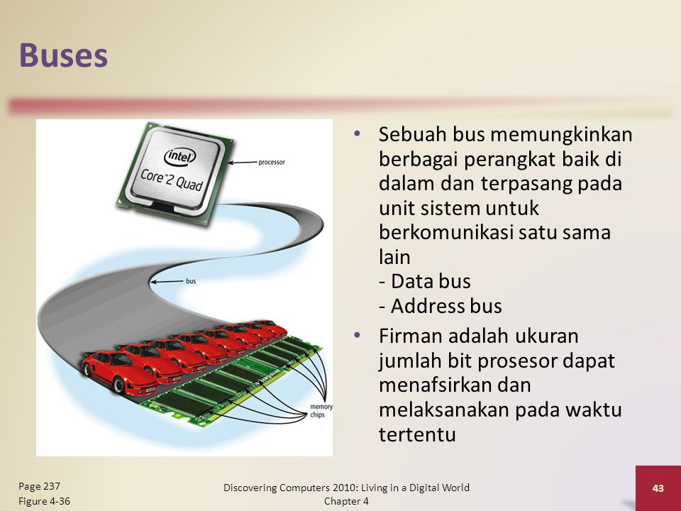 Buses Sebuah bus memungkinkan berbagai perangkat baik di dalam dan terpasang pada unit sistem untuk berkomunikasi satu sama lain - Data bus - Address