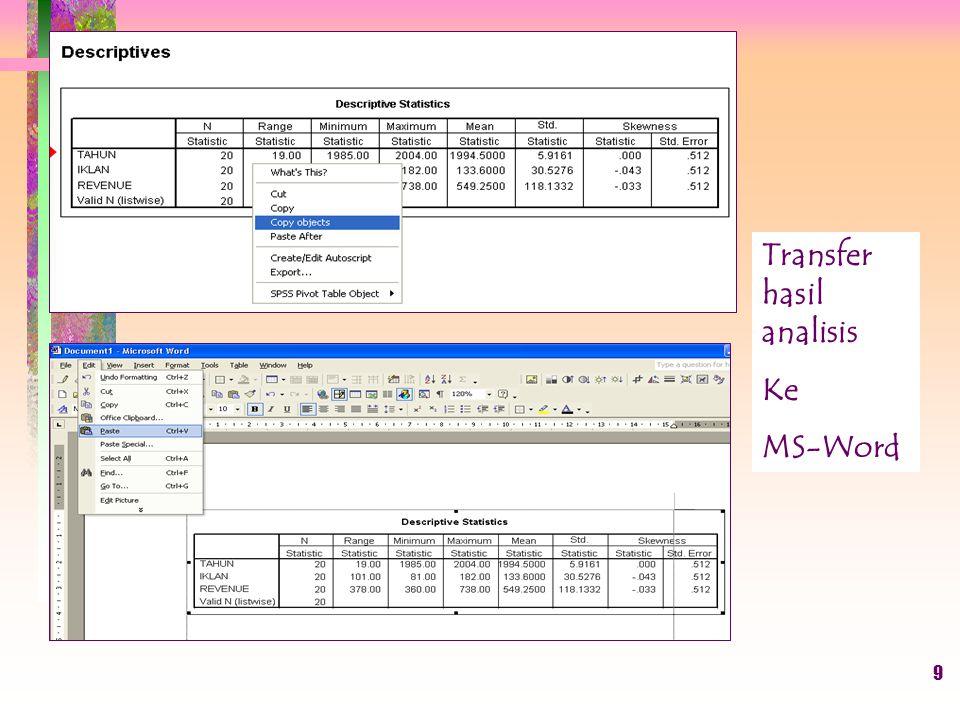 Transfer hasil analisis Ke MS-Word 9