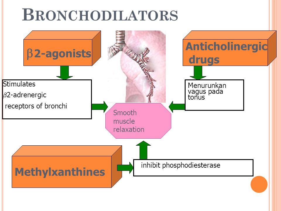 B RONCHODILATORS  2-agonists Anticholinergic drugs Smooth muscle relaxation Stimulates  2-adrenergic receptors of bronchi Menurunkan vagus pada tonu