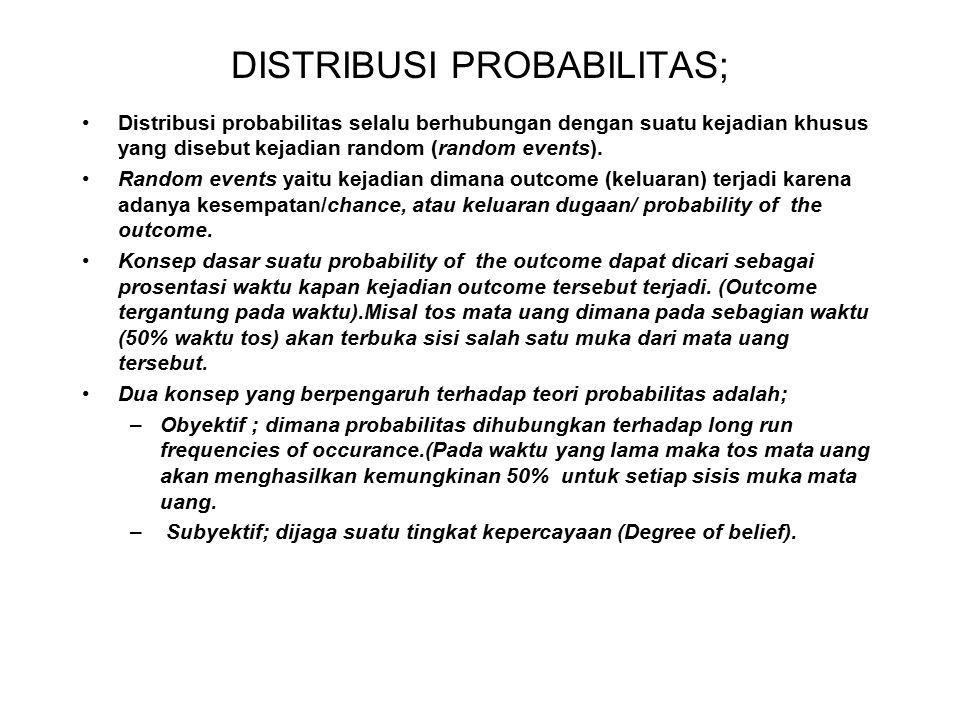 DISTRIBUSI PROBABILITAS; Distribusi probabilitas selalu berhubungan dengan suatu kejadian khusus yang disebut kejadian random (random events). Random