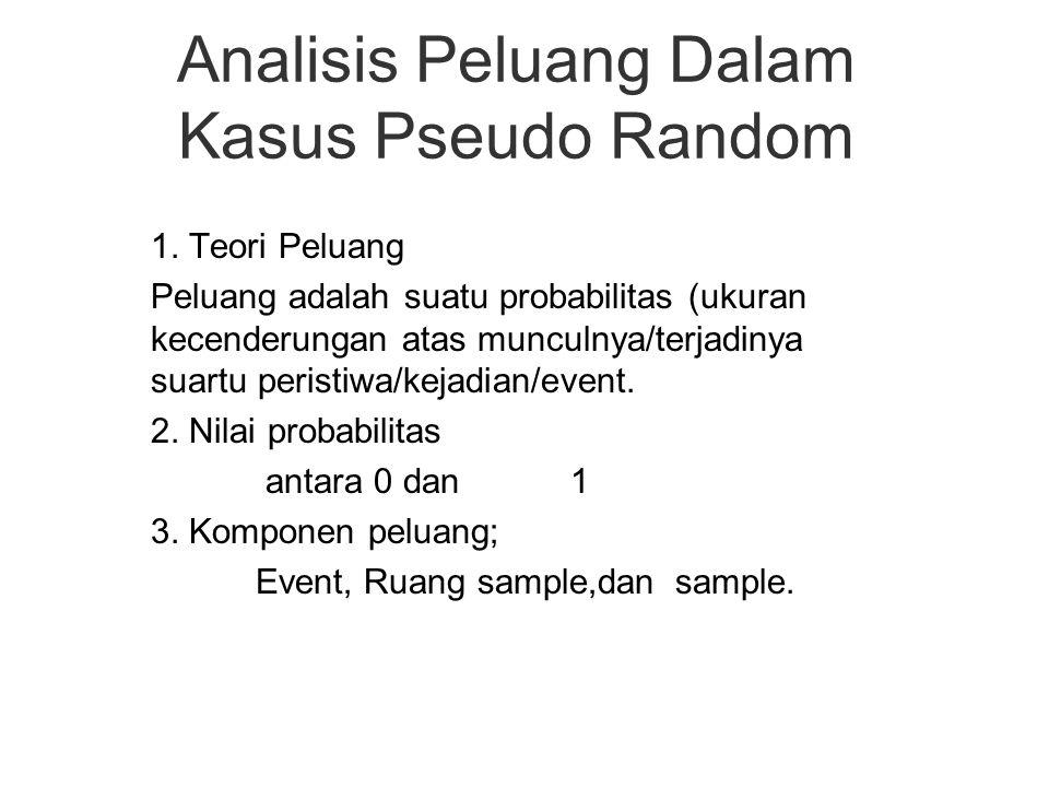 Analisis Peluang Dalam Kasus Pseudo Random 1. Teori Peluang Peluang adalah suatu probabilitas (ukuran kecenderungan atas munculnya/terjadinya suartu p