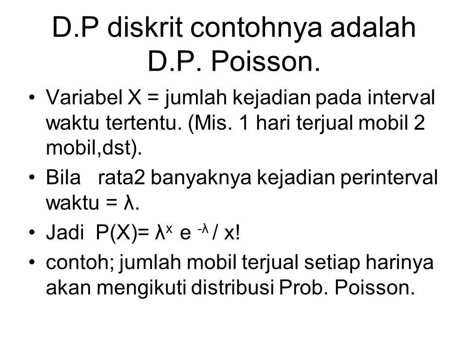 D.P diskrit contohnya adalah D.P. Poisson. Variabel X = jumlah kejadian pada interval waktu tertentu. (Mis. 1 hari terjual mobil 2 mobil,dst). Bila ra