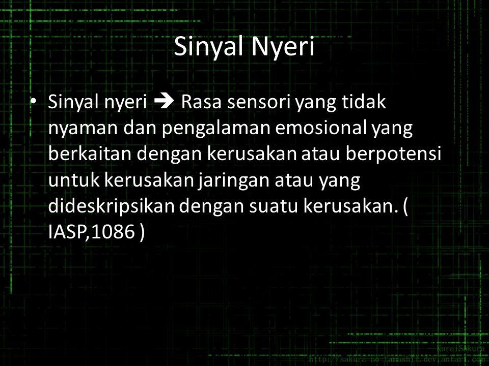 Sinyal Nyeri Sinyal nyeri  Rasa sensori yang tidak nyaman dan pengalaman emosional yang berkaitan dengan kerusakan atau berpotensi untuk kerusakan ja