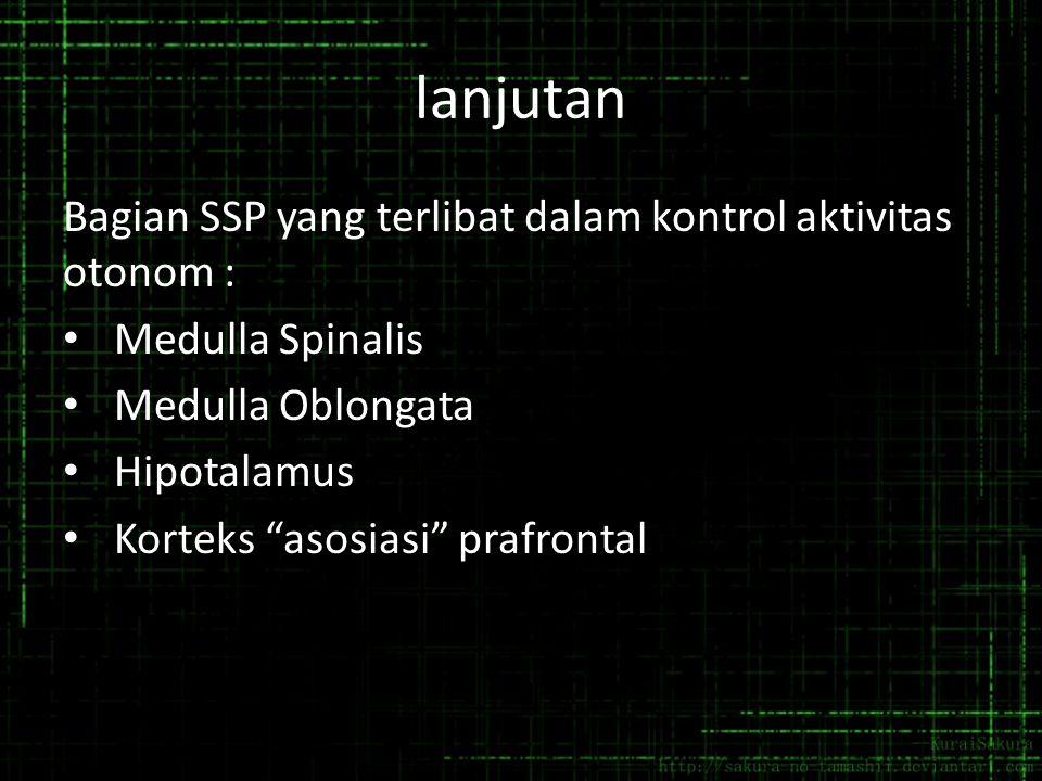 "lanjutan Bagian SSP yang terlibat dalam kontrol aktivitas otonom : Medulla Spinalis Medulla Oblongata Hipotalamus Korteks ""asosiasi"" prafrontal"