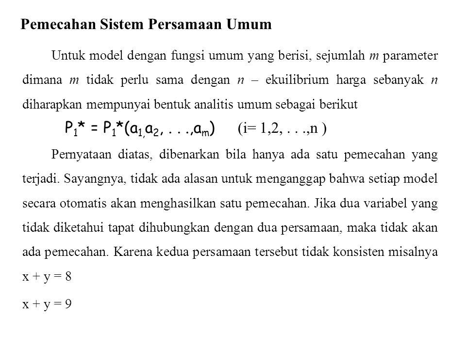 Untuk model dengan fungsi umum yang berisi, sejumlah m parameter dimana m tidak perlu sama dengan n – ekuilibrium harga sebanyak n diharapkan mempunya