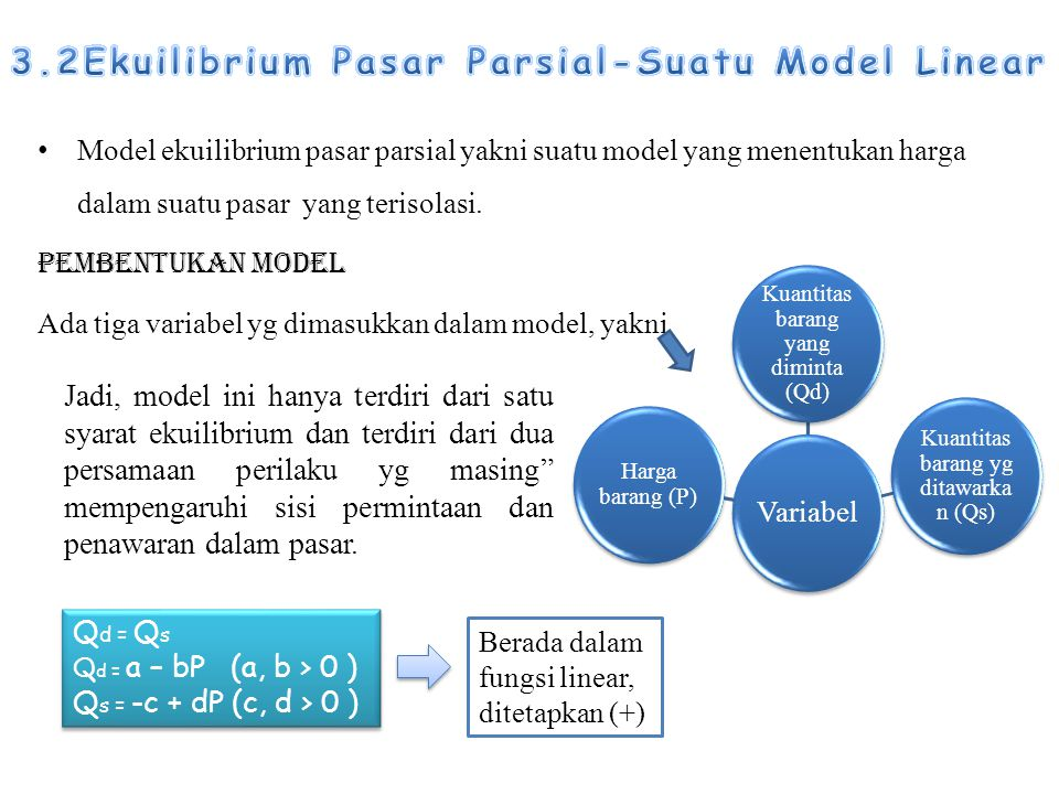 Model ekuilibrium pasar parsial yakni suatu model yang menentukan harga dalam suatu pasar yang terisolasi. Pembentukan model Ada tiga variabel yg dima