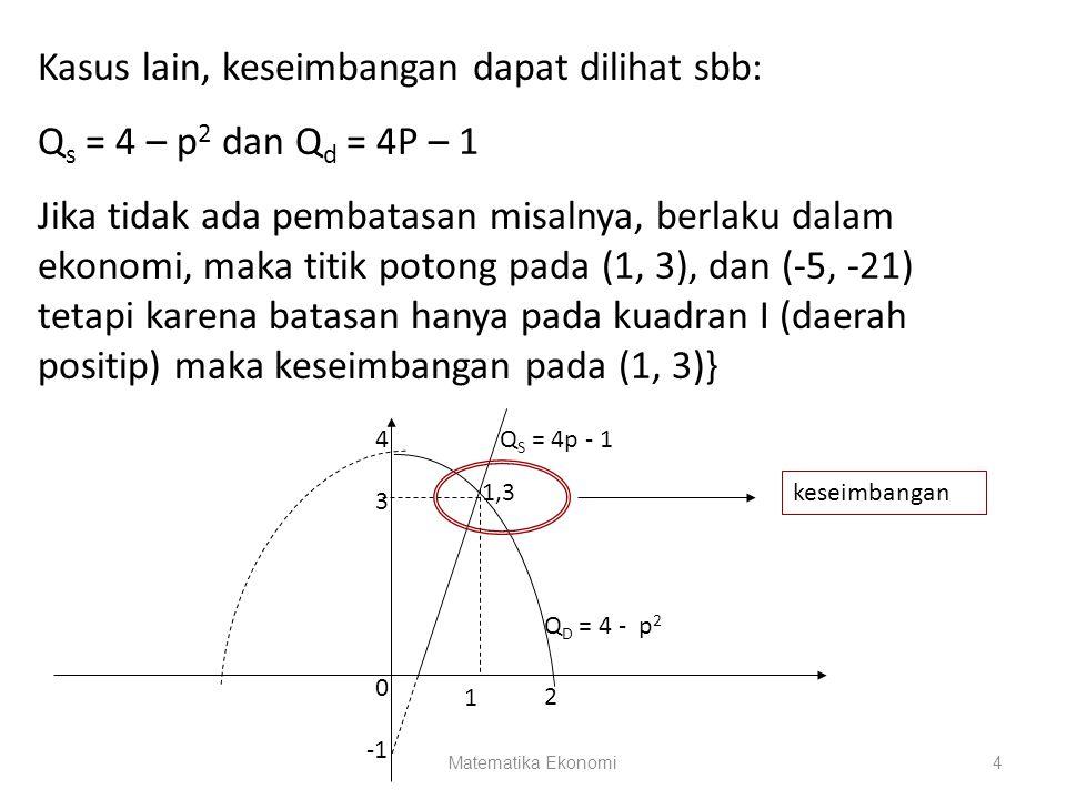 Matematika Ekonomi4 Kasus lain, keseimbangan dapat dilihat sbb: Q s = 4 – p 2 dan Q d = 4P – 1 Jika tidak ada pembatasan misalnya, berlaku dalam ekono