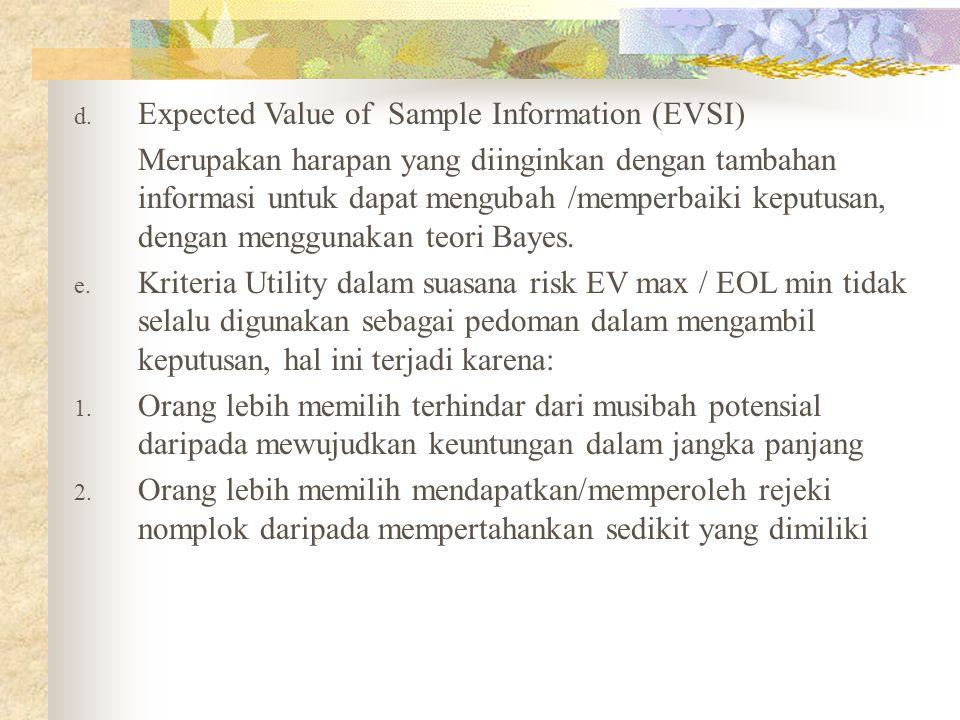 d. Expected Value of Sample Information (EVSI) Merupakan harapan yang diinginkan dengan tambahan informasi untuk dapat mengubah /memperbaiki keputusan