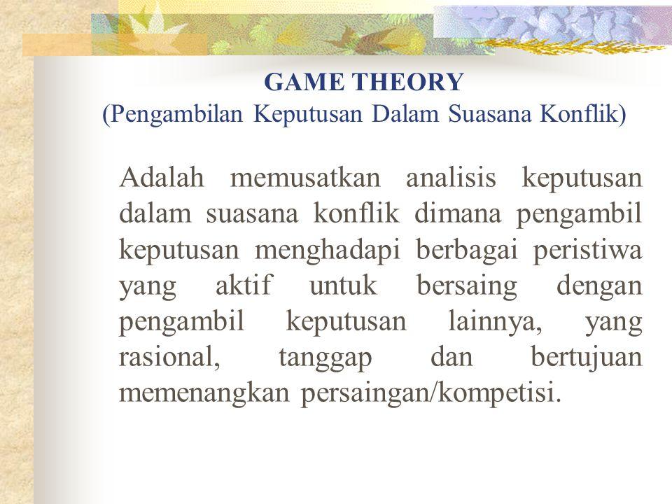GAME THEORY (Pengambilan Keputusan Dalam Suasana Konflik) Adalah memusatkan analisis keputusan dalam suasana konflik dimana pengambil keputusan mengha