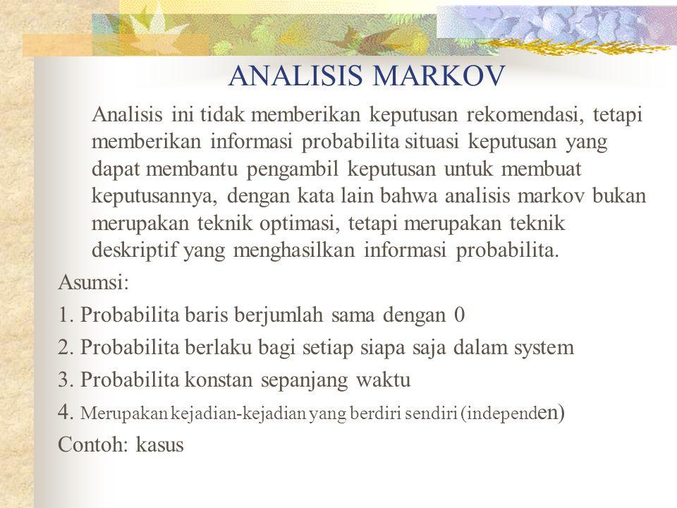 ANALISIS MARKOV Analisis ini tidak memberikan keputusan rekomendasi, tetapi memberikan informasi probabilita situasi keputusan yang dapat membantu pen