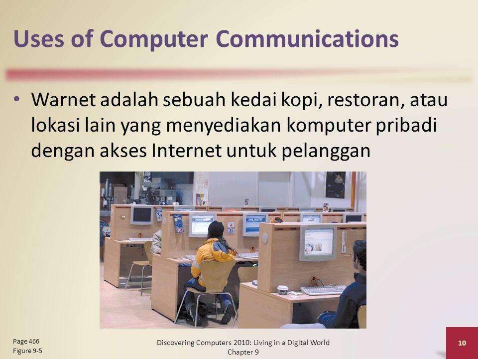 Uses of Computer Communications Warnet adalah sebuah kedai kopi, restoran, atau lokasi lain yang menyediakan komputer pribadi dengan akses Internet untuk pelanggan Discovering Computers 2010: Living in a Digital World Chapter 9 10 Page 466 Figure 9-5
