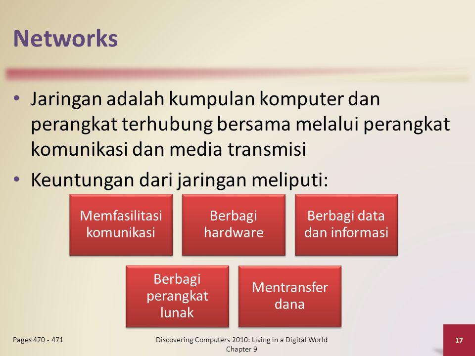 Networks Jaringan adalah kumpulan komputer dan perangkat terhubung bersama melalui perangkat komunikasi dan media transmisi Keuntungan dari jaringan meliputi: Discovering Computers 2010: Living in a Digital World Chapter 9 17 Pages 470 - 471 Memfasilitasi komunikasi Berbagi hardware Berbagi data dan informasi Berbagi perangkat lunak Mentransfer dana