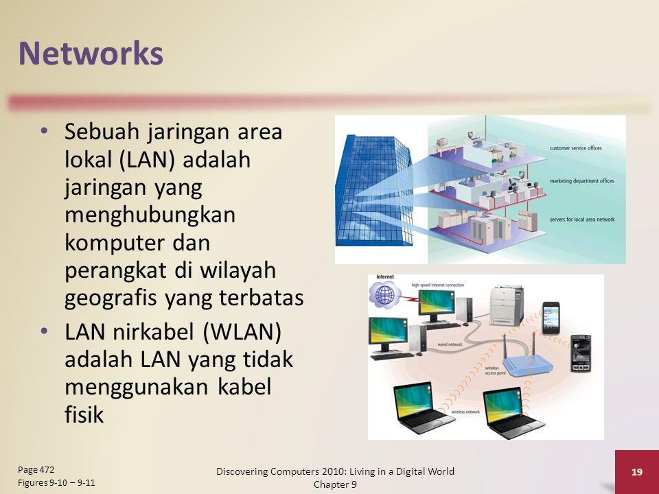 Networks Sebuah jaringan area lokal (LAN) adalah jaringan yang menghubungkan komputer dan perangkat di wilayah geografis yang terbatas LAN nirkabel (WLAN) adalah LAN yang tidak menggunakan kabel fisik Discovering Computers 2010: Living in a Digital World Chapter 9 19 Page 472 Figures 9-10 – 9-11