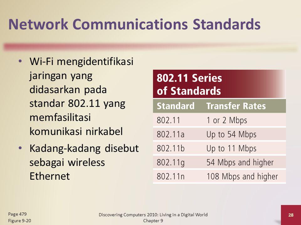 Network Communications Standards Wi-Fi mengidentifikasi jaringan yang didasarkan pada standar 802.11 yang memfasilitasi komunikasi nirkabel Kadang-kadang disebut sebagai wireless Ethernet Discovering Computers 2010: Living in a Digital World Chapter 9 28 Page 479 Figure 9-20