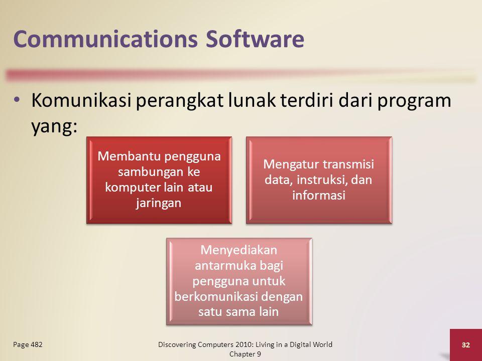 Communications Software Komunikasi perangkat lunak terdiri dari program yang: Discovering Computers 2010: Living in a Digital World Chapter 9 32 Page 482 Membantu pengguna sambungan ke komputer lain atau jaringan Mengatur transmisi data, instruksi, dan informasi Menyediakan antarmuka bagi pengguna untuk berkomunikasi dengan satu sama lain