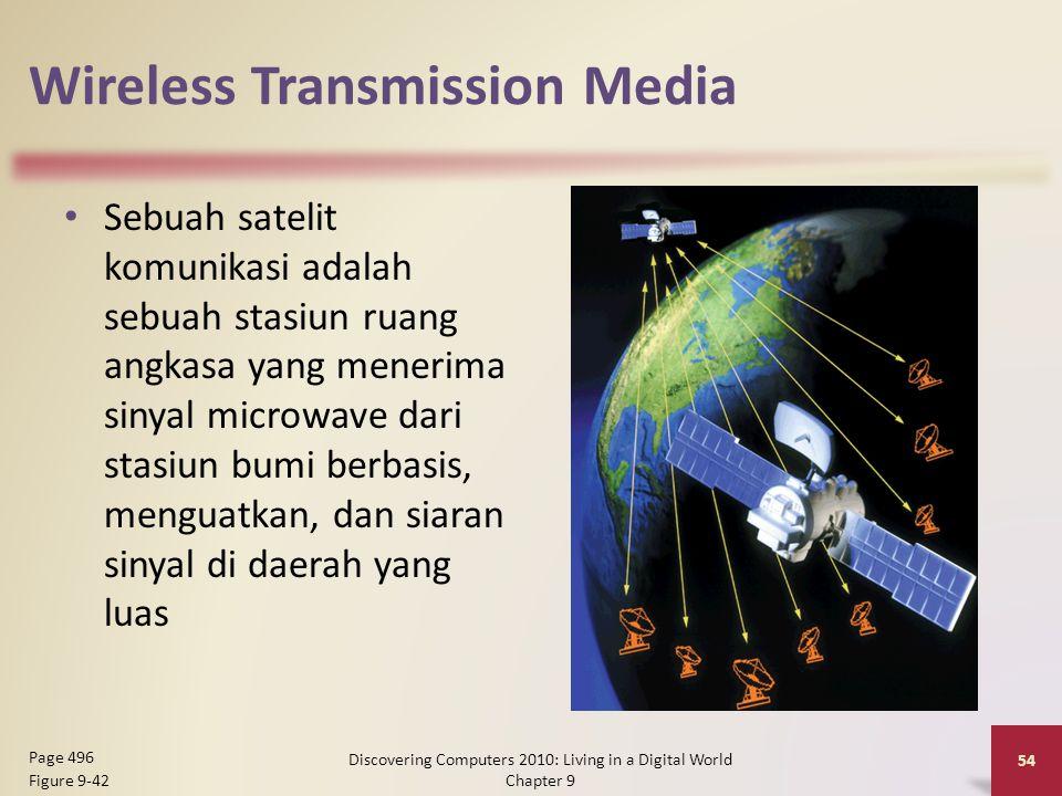 Wireless Transmission Media Sebuah satelit komunikasi adalah sebuah stasiun ruang angkasa yang menerima sinyal microwave dari stasiun bumi berbasis, menguatkan, dan siaran sinyal di daerah yang luas Discovering Computers 2010: Living in a Digital World Chapter 9 54 Page 496 Figure 9-42