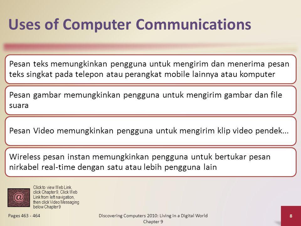 Uses of Computer Communications Pesan teks memungkinkan pengguna untuk mengirim dan menerima pesan teks singkat pada telepon atau perangkat mobile lainnya atau komputer Pesan gambar memungkinkan pengguna untuk mengirim gambar dan file suara Pesan Video memungkinkan pengguna untuk mengirim klip video pendek...