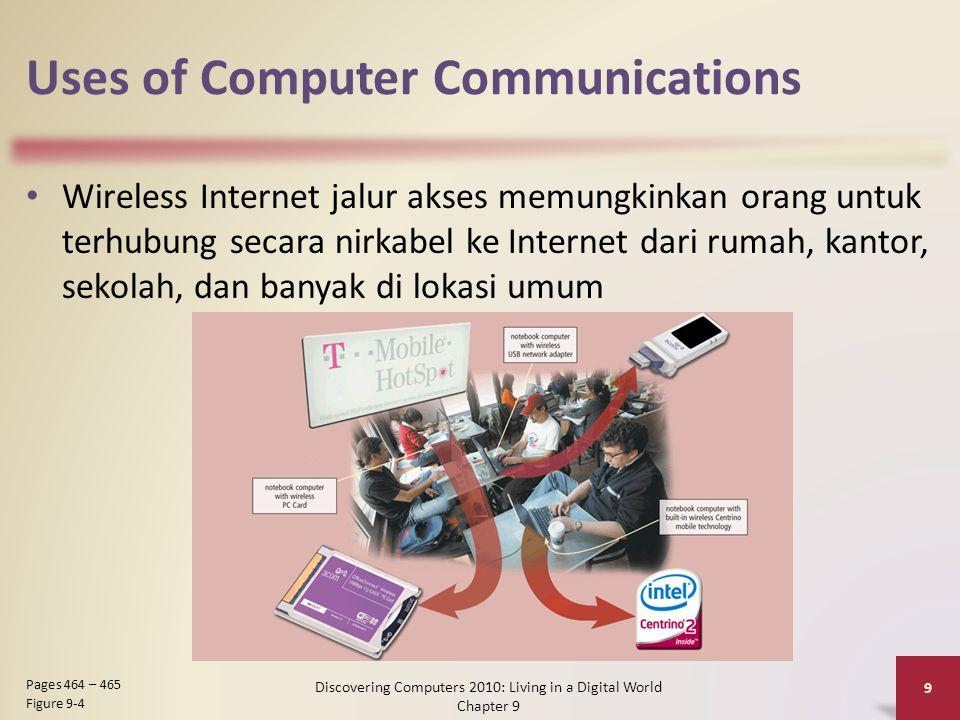 Uses of Computer Communications Wireless Internet jalur akses memungkinkan orang untuk terhubung secara nirkabel ke Internet dari rumah, kantor, sekolah, dan banyak di lokasi umum Discovering Computers 2010: Living in a Digital World Chapter 9 9 Pages 464 – 465 Figure 9-4