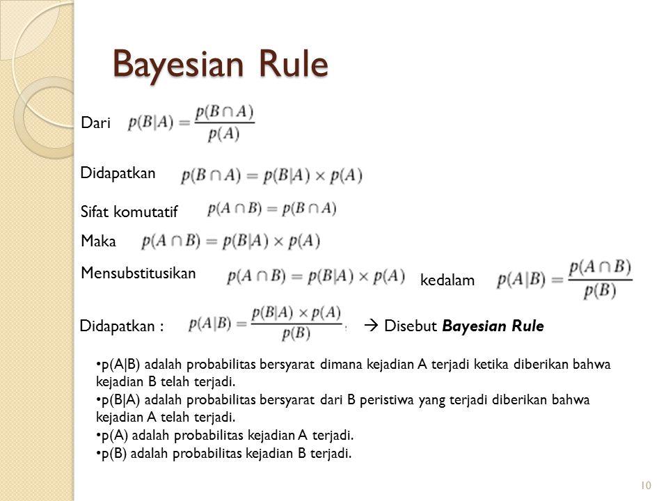 Bayesian Rule Dari Didapatkan Sifat komutatif Maka Mensubstitusikan kedalam Didapatkan :  Disebut Bayesian Rule p(A|B) adalah probabilitas bersyarat dimana kejadian A terjadi ketika diberikan bahwa kejadian B telah terjadi.