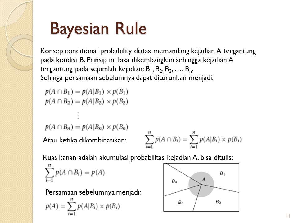 Bayesian Rule Konsep conditional probability diatas memandang kejadian A tergantung pada kondisi B. Prinsip ini bisa dikembangkan sehingga kejadian A