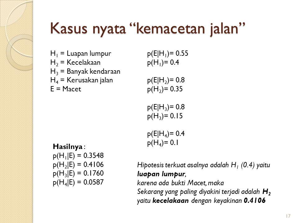Kasus nyata kemacetan jalan 17 H 1 = Luapan lumpur H 2 = Kecelakaan H 3 = Banyak kendaraan H 4 = Kerusakan jalan E = Macet Hasilnya : p(H 1 |E) = 0.3548 p(H 2 |E) = 0.4106 p(H 3 |E) = 0.1760 p(H 4 |E) = 0.0587 p(E|H 1 )= 0.55 p(H 1 )= 0.4 p(E|H 2 )= 0.8 p(H 2 )= 0.35 p(E|H 3 )= 0.8 p(H 3 )= 0.15 p(E|H 4 )= 0.4 p(H 4 )= 0.1 Hipotesis terkuat asalnya adalah H 1 (0.4) yaitu luapan lumpur, karena ada bukti Macet, maka Sekarang yang paling diyakini terjadi adalah H 2 yaitu kecelakaan dengan keyakinan 0.4106