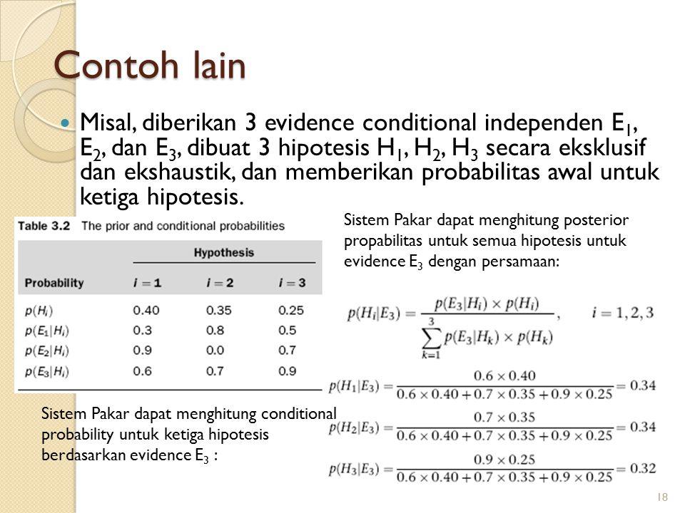 Contoh lain Misal, diberikan 3 evidence conditional independen E 1, E 2, dan E 3, dibuat 3 hipotesis H 1, H 2, H 3 secara eksklusif dan ekshaustik, dan memberikan probabilitas awal untuk ketiga hipotesis.