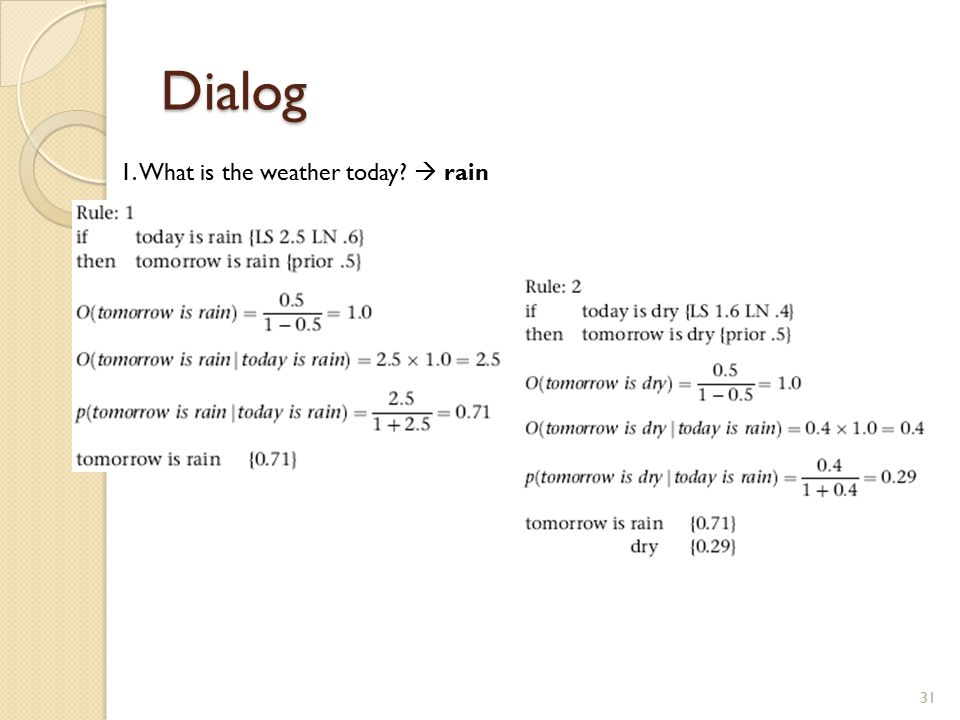 Dialog 31 1. What is the weather today?  rain